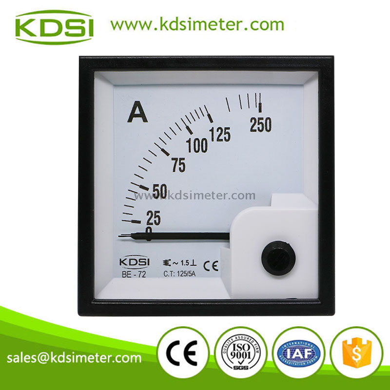 Square type BE-72 72*72 AC125/5A panel amperemeter Gauge Tester