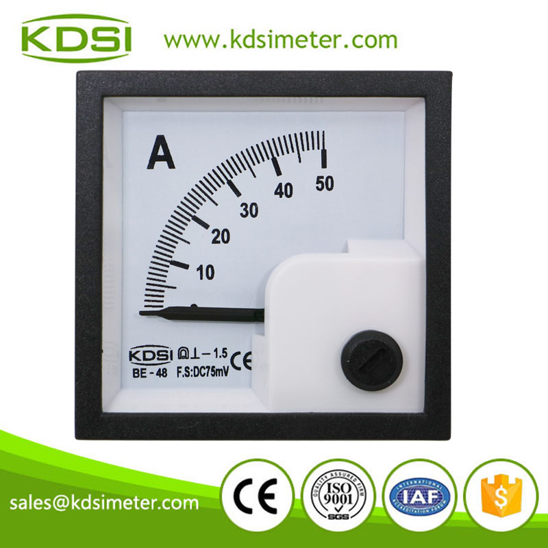 20 Years Manufacturing Experience BE-48 48*48mm DC75mV 50A analog mini amp panel meter
