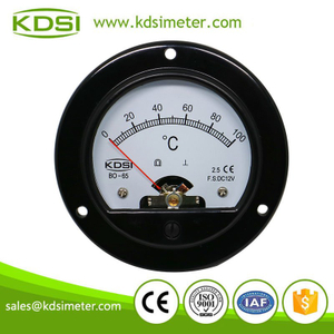 KDSI round type BO-65 DC12V 100℃ analog panel voltage temperature meter