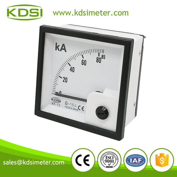 Easy installation BE-72 72*72 DC4-20mA 85KA analog ammeter with output