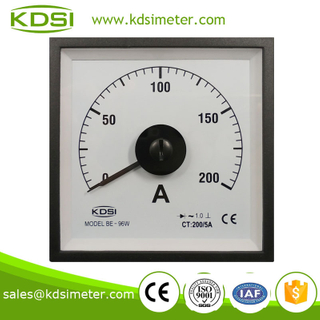 High quality Wide Angle Meter BE-96W AC200 / 5A with rectifier panel analog ammeter